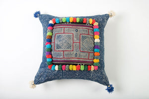 Hmong Tribal Cushion with Vintage Swatch and PomPoms 45cm x 45cm
