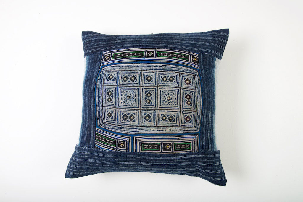 Hmong Tribal Cushion with Vintage Swatch 45cm x 45cm