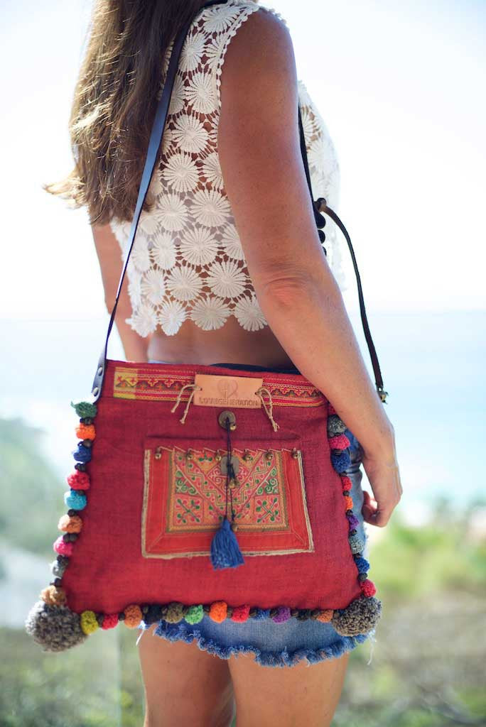 9b5a33cf77 Roman Holiday - Vintage Boho Shoulder Bag in Watermelon Red Hemp With One  Of A Kind