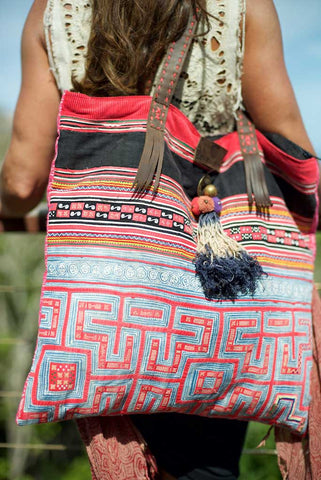 Young Rebel - Large Vintage Boho Shoulder Bag Hmong Tribal Fabric