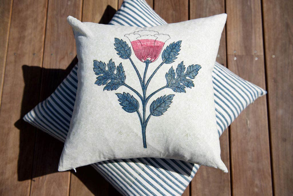 Hand Block Printed Watermelon Lotus Boho Cushion 45cm x 45cm