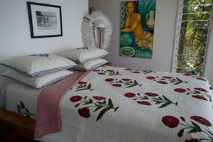 Luxury Hand Block Printed Handstitched Bedcover Queen in Indian Cotton Poppy Print- one only