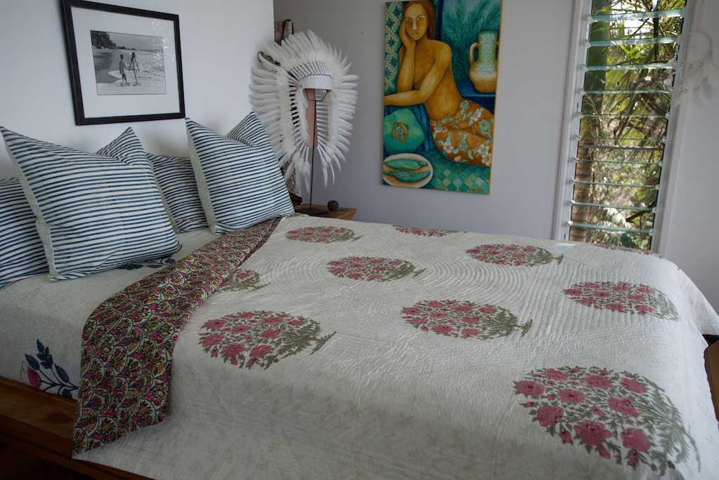 Luxury Hand Block Printed Handstitched Bedcover Queen in Indian Cotton Pink Desert Flower Bush- one only