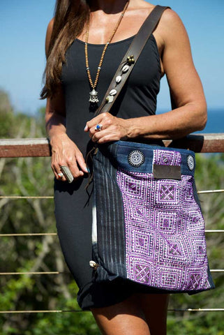 Little Rebel - Unique Handmade Boho Tote Handbag With Leather Detail - Violet
