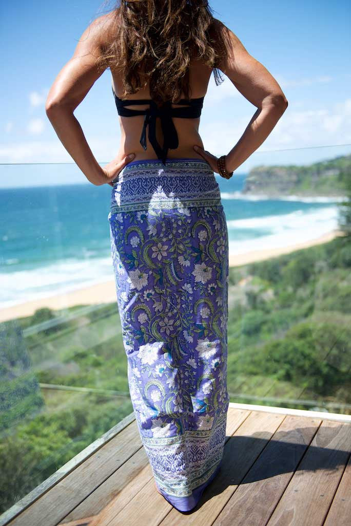 Sarong - Mauve with White Flowers, Green Leaf and Gold Fleck Motif  Hand Blockprint Indian Cotton