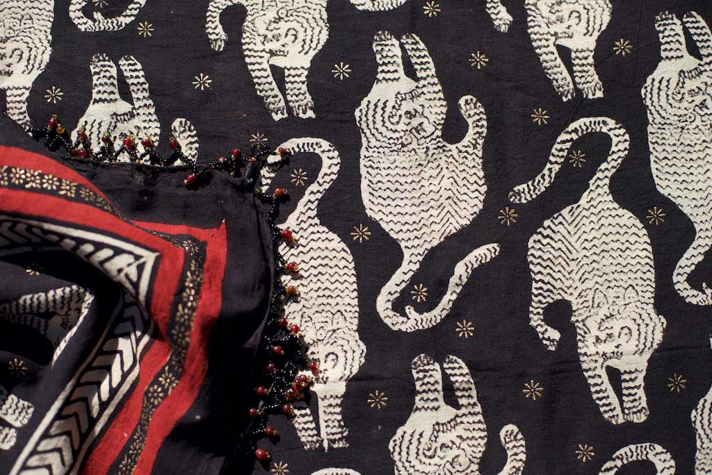 Sarong - Leopard Motif in Black & Crimson Hand Blockprint Indian Cotton