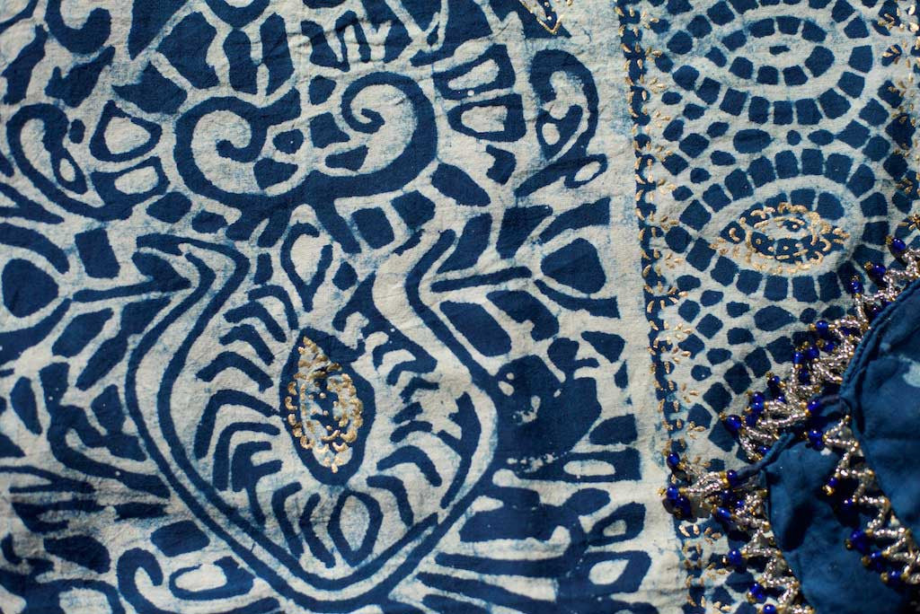 Sarong - Deep Indigo & Gold Motif  Hand Blockprint Indian Cotton