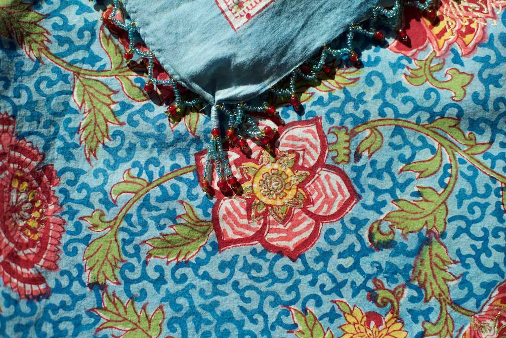 Sarong - Ocean Blue with Red & Gold Flowers Motif  Hand Blockprint Indian Cotton