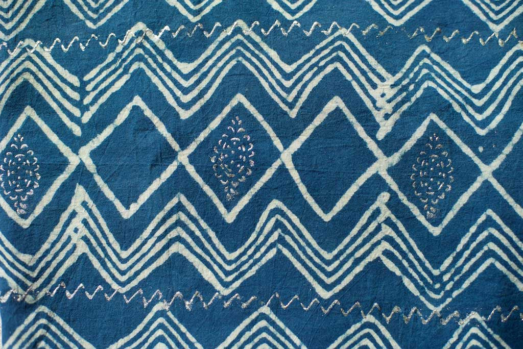 Sarong - Indigo with White Tribal Motif  Hand Blockprint Indian Cotton