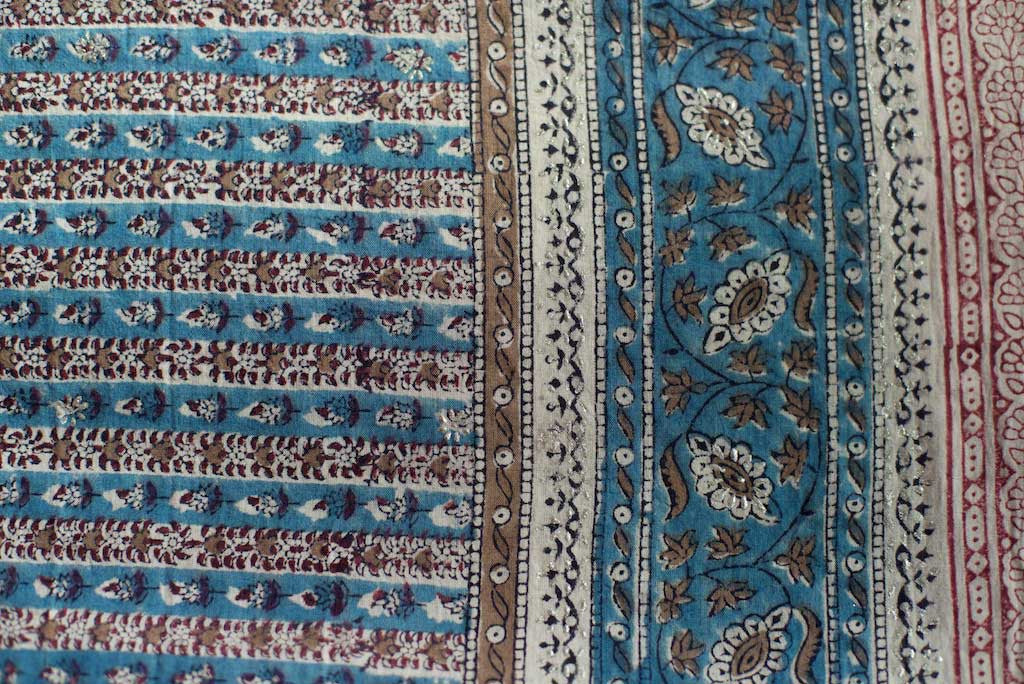 Sarong - Teal Blue & Brown with Flowers Motif  Hand Blockprint Indian Cotton