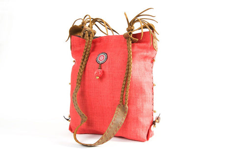 Sabrina - Vintage Shoulder Bag in Watermelon Red Hemp & Vintage Hmong Tribal Fabric