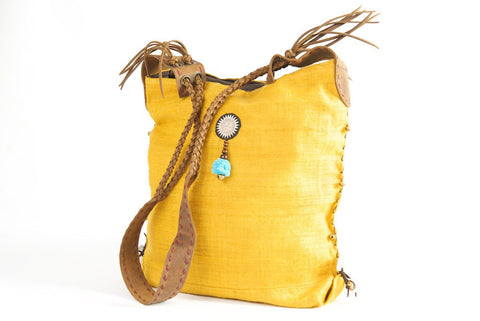 Sabrina - Vintage Shoulder Bag in Turmeric Gold Hemp & Vintage Hmong Tribal Fabric