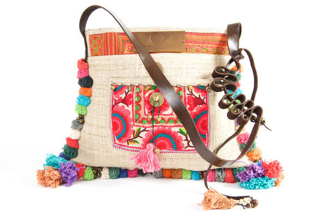 Roman Holiday - Vintage Boho Shoulder Bag in Ivory White Hemp + Vintage Hmong Tribal Fabric