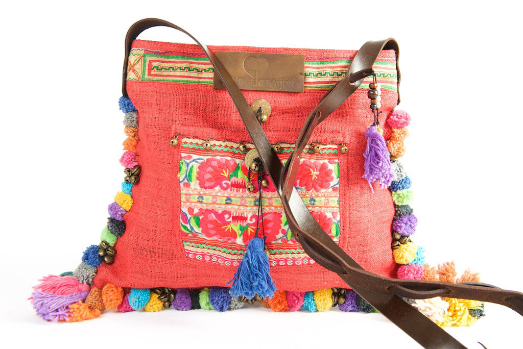 Roman Holiday - Vintage Boho Shoulder Bag in Watermelon Red Hemp + Vintage Hmong Tribal Fabric