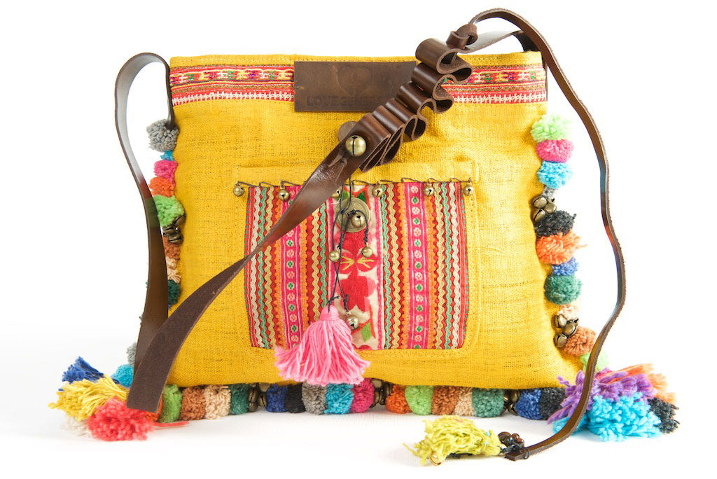 Roman Holiday - Vintage Boho Shoulder Bag in Turmeric Gold Hemp With One Of A Kind Multi Coloured Detail
