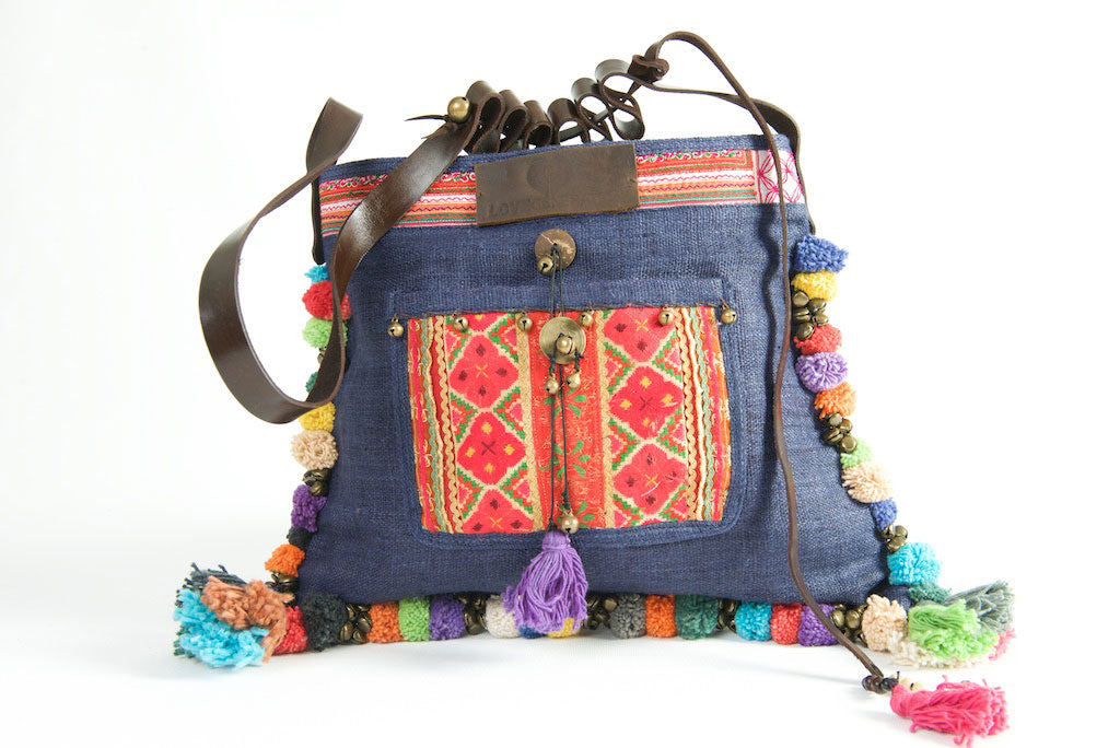 Roman Holiday - Vintage Boho Shoulder Bag in Midnight Blue Hemp With One Of A Kind Multi Coloured Detail