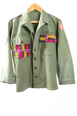 Make Love, Not War, Army Jacket -Genuine Vintage Army Jacket with Vintage Hmong Embroidery