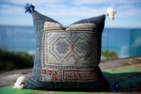 Hmong Tribal Cushion with Vintage Swatch 60cm x 60cm