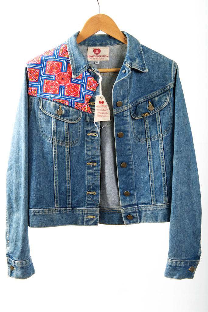 Vintage Denim Jacket with Vintage Hmong Hill Tribe Embroidery