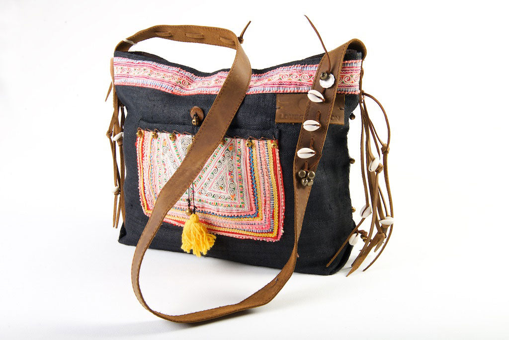 Jezebel - Vintage Shoulder Bag in Charcoal Black Colour Hemp & Vintage Hmong Tribal Fabric