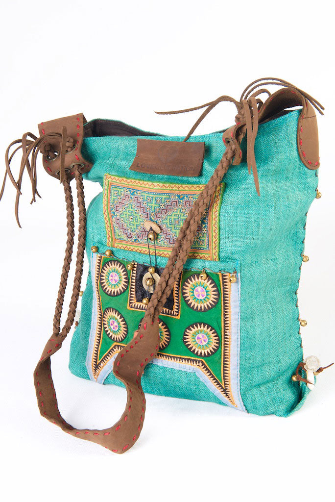 Sabrina - Vintage Shoulder Bag in Turquoise Hemp & Vintage Hmong Tribal Fabric