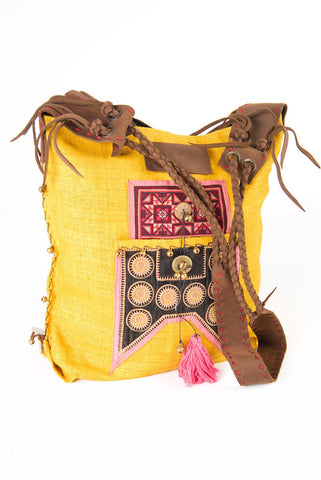 Sabrina - Vintage Shoulder Bag in Turmeric Colour Hemp & Vintage Hmong Tribal Fabric