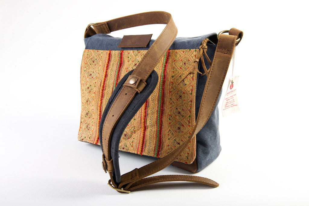 Hemmingway Satchel - Vintage Hilltribe Panels on Tough Canvas
