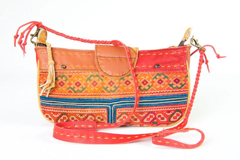 Geronimo- Shoulder Bag/Clutch in Leather and Vintage Hmong Fabric
