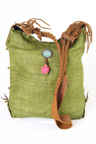 Sabrina - Vintage Shoulder Bag in Olive Green Hemp & Vintage Hmong Tribal Fabric