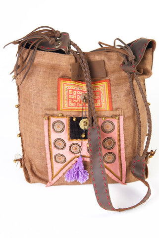 Sabrina - Vintage Shoulder Bag in Cinnamon Brown Hemp & Vintage Hmong Tribal Fabric