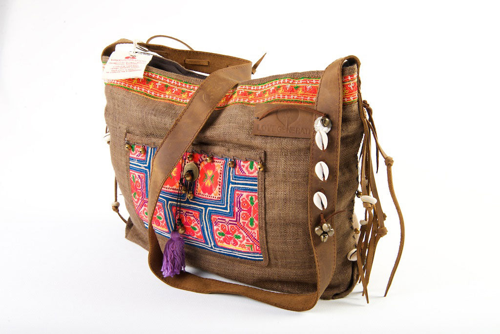 Jezebel - Vintage Shoulder Bag in Coffee Colour Hemp & Vintage Hmong Tribal Fabric