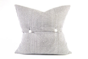 Charcoal Palm on White Cushion 45cm x 45cm