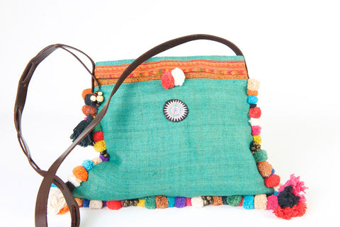 Roman Holiday - Vintage Boho Shoulder Bag in Turquoise Hemp + Vintage Hmong Tribal Fabric