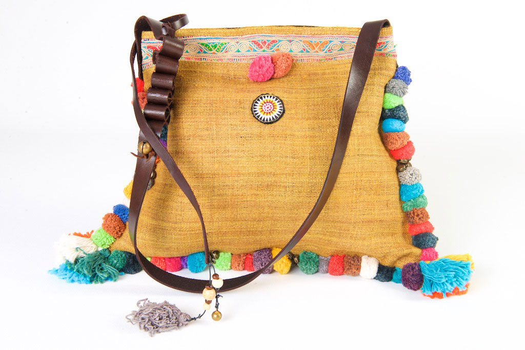 Roman Holiday - Vintage Boho Shoulder Bag in Tan Hemp + Vintage Hmong Tribal Fabric