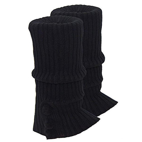Knitted Ugg Socks - 3 PomPom Black