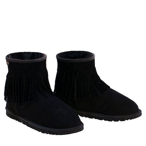 Fringe Ankle Sheepskin Ugg Boots - Black
