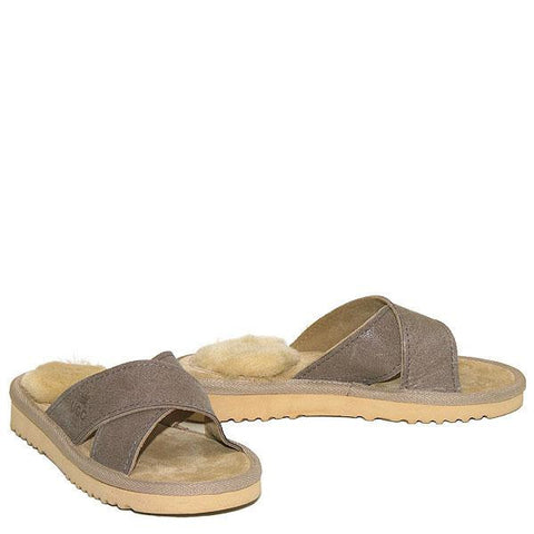 Cross Sheepskin Sandals Sand-Taupe