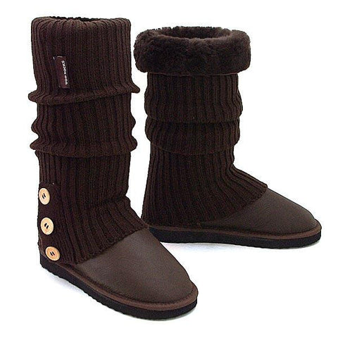Knitted Ugg Socks & Tall Bomber Boots - Chocolate