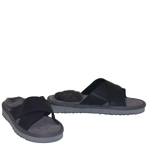 Cross Sheepskin Sandals Grey-Black