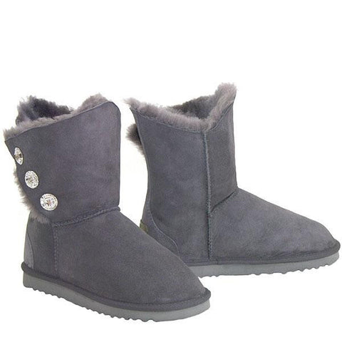 Swarovski Gemstone 3/4 Sheepskin Ugg Boots - Grey