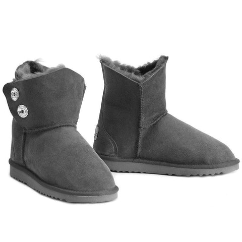 Swarovski Gemstone Sheepskin Ugg Boots - Grey