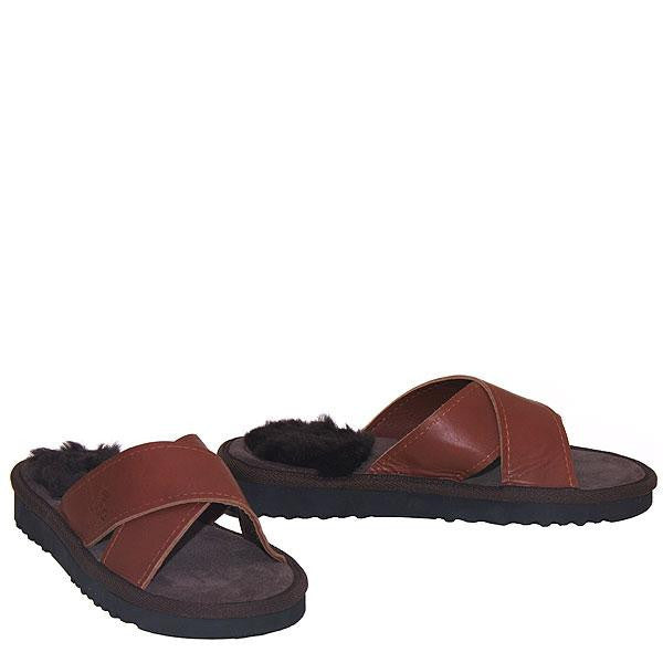 Cross Sheepskin Sandals Chocolate-Brown