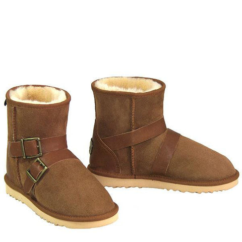 Swell Buckle Strap Sheepskin Ugg Boots - Chestnut