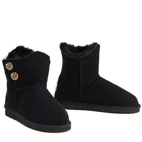 Swarovski Gold Gemstone Sheepskin Ugg Boots - Black
