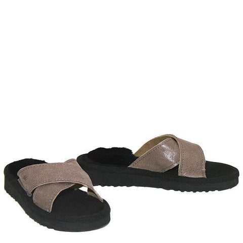 Cross Sheepskin Sandals Black-Taupe