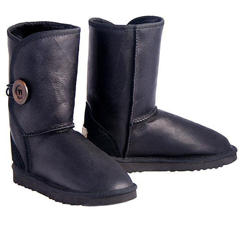 Bomber Button Wraps Ugg Boots - Black