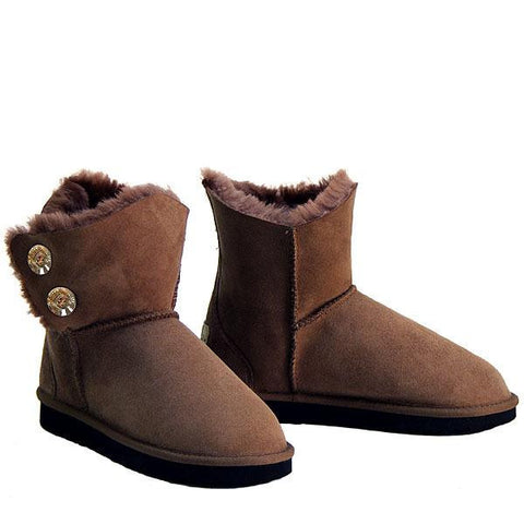 Swarovski Gold Gemstone Sheepskin Ugg Boots - Chocolate
