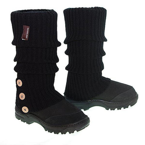 Offroader Tall Boots & Knitted Ugg Socks - Black
