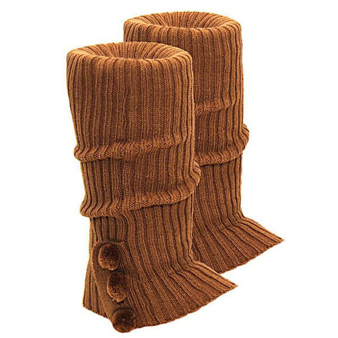 Knitted Ugg Socks - 3 PomPom Chestnut