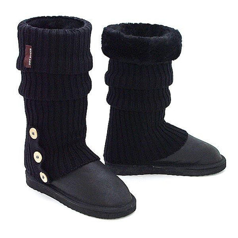Knitted Ugg Socks & Tall Bomber Boots - Black